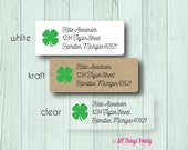 Shamrock Custom Return Address Labels - Personalized St. Patrick's Day Stickers - Matte White, Kraft, or Clear Gloss