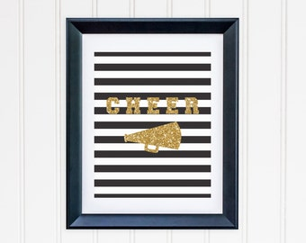 Black and White Striped Gold Cheer Megaphone Printable - Instant Download - Cheerleader - High Resolution JPEG & PDF