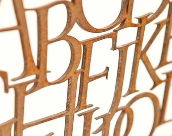 """RUSTY METAL LETTERS - Any font (Custom) - 1/16"""" thick"""