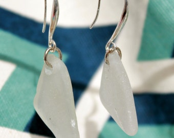 Genuine sea glass earrings white and silver