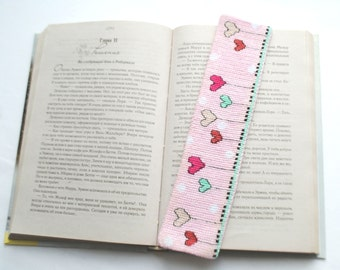 Pink bookmark for books, embroidered bookmark for the book.