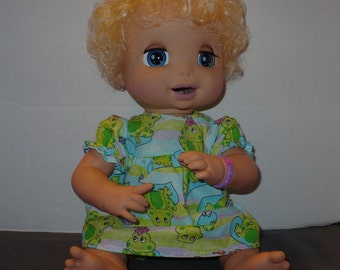 16 in Baby Alive Frog Print Dress and Panties