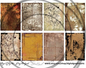 Grunge ACEO Backgrounds and Hang Tags, Digital Instant Download Collage, Artist Trading Cards, Ephemera, Primative, Distressed