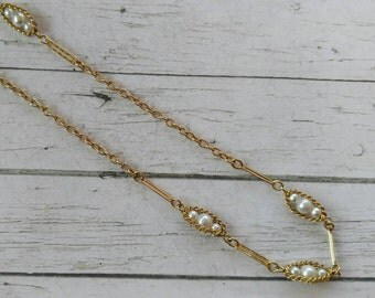Vintage Sarah Coventry Antique Gold Tone Necklace// Faux Pearl Links// Long Length Necklace// 1970's