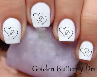 1064 Heart Waterslide Nail Art Decals Enough For 2 Manicures