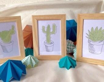 "3 framed artwork ""cactus""."