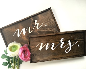 Mr. & Mrs. Handcrafted Wooden Wedding Signs