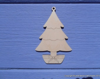 Wooden Plain Christmas Tree Gift Tag Blank Christmas Decoration Shapes 2 Designs Pack of 10