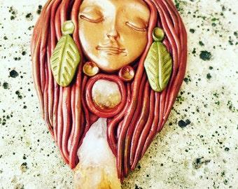 Ava autumn clay goddess crystal pendant