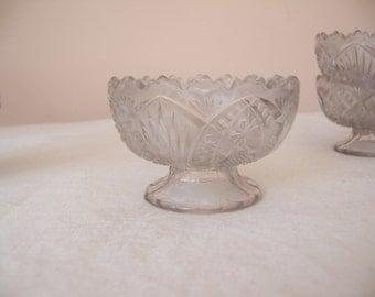 Set of 6 Vintage Crystal Pedestal Ice Cream/Sherbet/Dessert Bowls