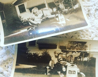 Vintage Photographs of Siblings in Peddle Car