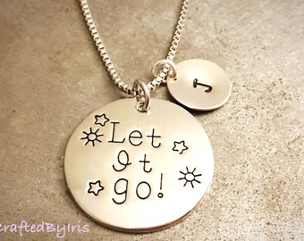 """Personalized Hand Stamp Initial Personalized Necklace, Charm Necklace,""""Let it go""""Letter Charm Pendant Necklace,Birthday gift, Birthday Gift"""