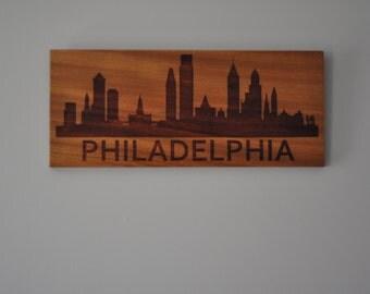 Philadelphia Skyline Laser Engraved