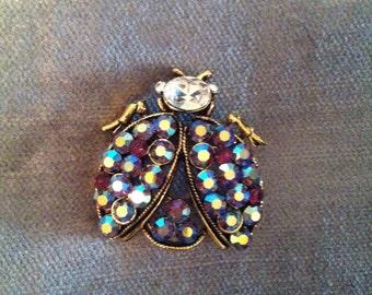 Beautiful Vintage Antiqued Gold Weiss Beetle Brooch