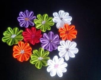 Hand made flower's of double satin ribbon -10 per pack- diameter 6cm