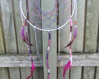 one of a kind DREAM-CATCHERS - handmade with beautiful rooster FEATHERS and gems