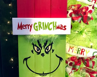 Grinch Sign, Grinch Christmas Decoration, Christmas Sign, Holiday Decor, Porch Decor, Door Hanger, Wall Hanging