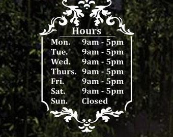 Business Hours Door Decal