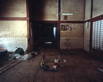 Abandoned building, urban decay, toy horse, creepy, urbex photography, Japanese print, fine art print, medium format, film, haunted, nursery
