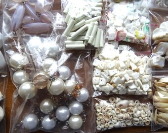 White salvage bead lot for crafts and jewelry making