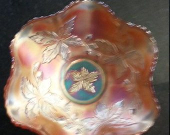 Carnival Glass Dish in Acorn and leaf pattern