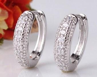Ladies earrings white gold hoop earrings with crystals 18 K Gold GP