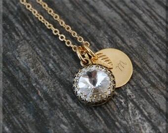 Gold Diamond April Birthstone Necklace, Initial Charm Necklace, Personalized Necklace, April Birthstone Charm. Swarovski Clear charm