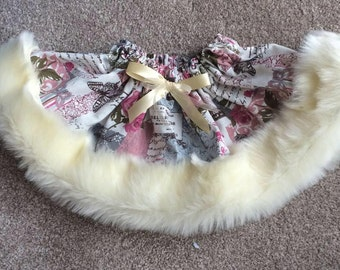 Handmade French Vintage Faux Fur trimmed skirt