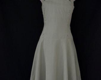 Halter dress, green/white stripes