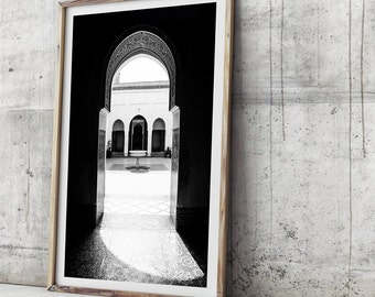 Morocco Art Print - Bahia Palace, Wall Art, Photo Print, Photographic Art, Moroccan Decor, Photo Print, Photographic Print, Black and White