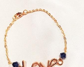 Rose Gold LOVE Bracelet, Rose Gold Chain Bracelet,