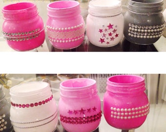 custom designed mason jars — tall & short available