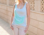 Woman blouse / woman top / grey top / dual-layer top / top curtain / top with drapery / casual top