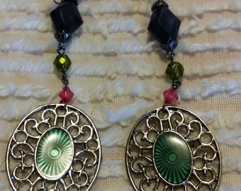 Vintage-style, hand-made long earrings (up-cycled materials)