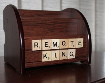 TV Remote control holder Scrabble Tiles 'Remote King' Organiser