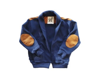 Blue Cardigan with Elbow Patch / Kids Blue Cardigan / Baby Cardigan / Back and Elbow Patch
