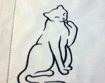 Cat Place Mats Black Cats on White Place Mats Set of Four Embroideried Place Mats Polyester Easy Care