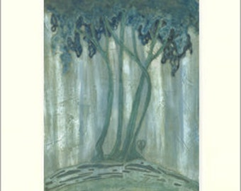 Newcomb Trees: Matted Giclée Art Print by The Bungalow Craft by Julie Leidel (Arts & Crafts Movement)