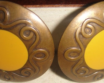 Bronze and Yellow Earrings