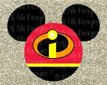 Mickey Mouse Ears Incredibles Superhero Family Disney Pixar Cutting File in Svg, Eps, Dxf, and Jpeg Format for Cricut & Silhouette