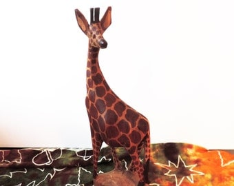 Hand Carved and Painted Solid Wood Giraffe Vintage