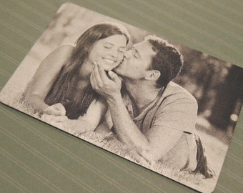 Image Engraved Wallet Insert - Anniversary Card - Back Engraving Too - Him or Her - Laser Engraved - Handwritten Wallet Insert