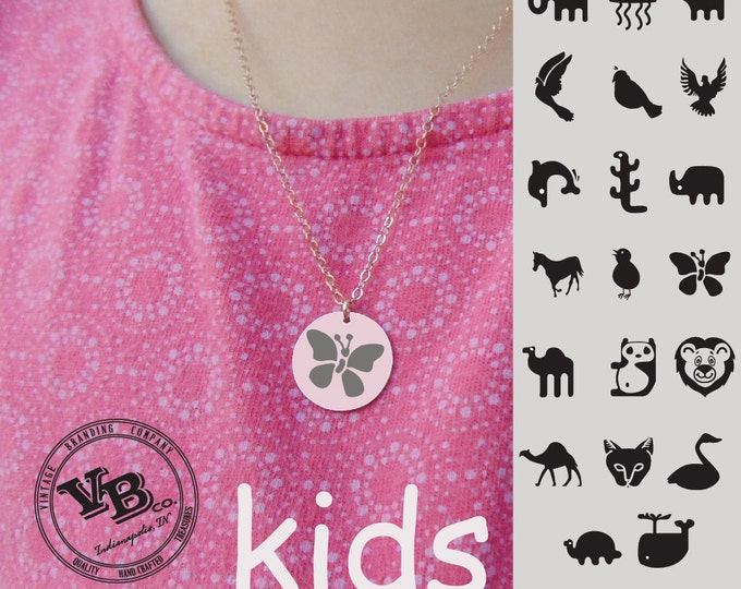 Rose Gold Animal Necklace - Gold or Rose Gold - Choose Graphic and Font - Personalized Jewelry - gift for daughter - gift for son - Add Text