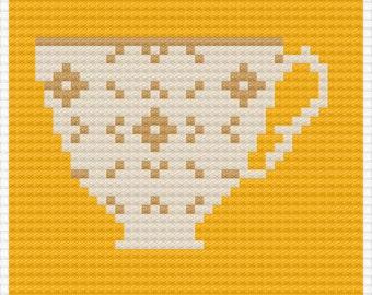 Orange Teacup Pop Art - Cross Stitch Pattern - Instant Download