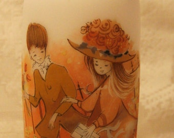 Rare Vintage Glass Vase by Giftcraft.A boy and a girl walking together.