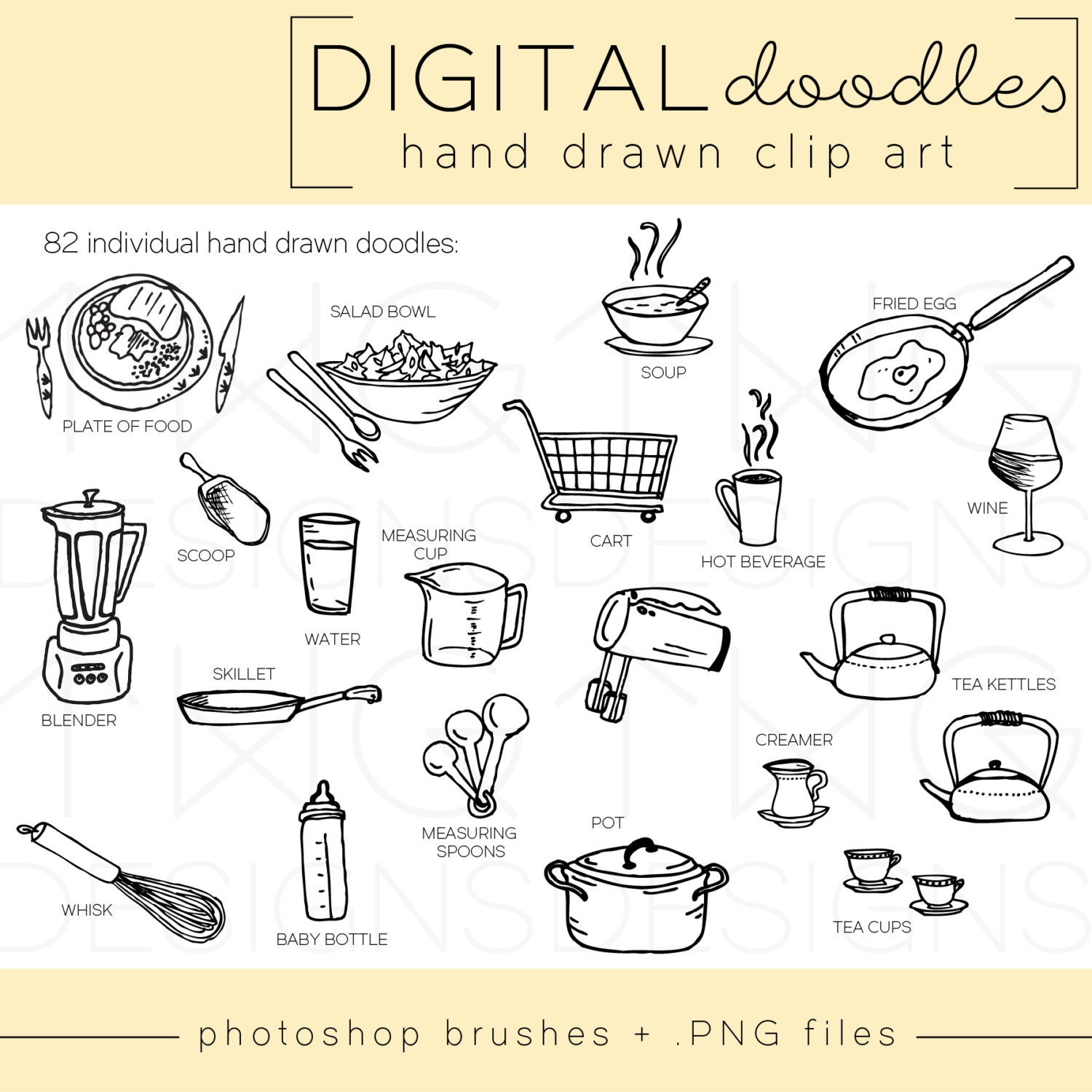 MEGA-Pack / Hand Drawn Clip Art / PNG Files / Photoshop