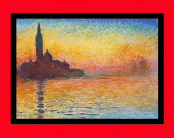 Claude Monet Print San Giorgio Maggiore at Dusk - Printed On Japanese Bamboo Paper Monet Poster Housewarming Gift Idea Monet Art Print