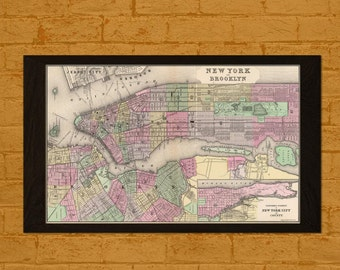 Old Map New York 1866 - Printed on Washi Japanese Paper new York Poster Ancient Map Brooklyn Poster Map Wall Art New York Poster Brooklyn