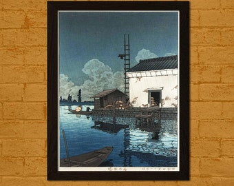 Printed on textured bamboo Art paper - Japanese Art Print Rain at Ushibor 1929 Hasui Ukiyo-e Poster  Decor  Decor Asian Art Japanese Artists