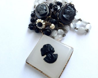Vintage Black & White Lucite Cameo Upcycled Necklace